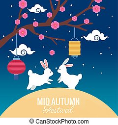 drzewo, jesień, celebrowanie, święto, kwiaty, średni, króliki