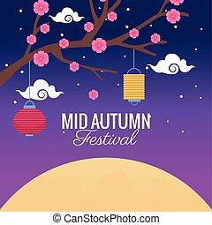drzewo, jesień, latarnie, celebrowanie, święto, wisząc, kwiaty, średni