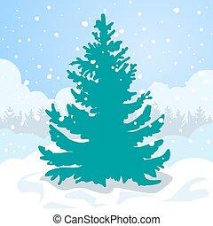 drzewo jodły, śnieg, drift., zieleń biała