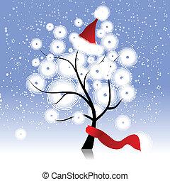 drzewo, kapelusz, boże narodzenie, zima