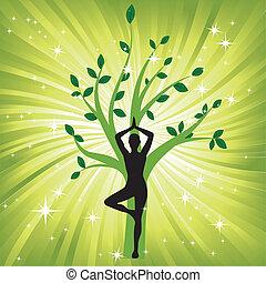 drzewo, kobieta, yoga, asana