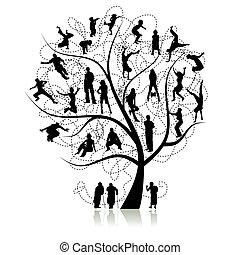 drzewo, krewni, rodzina