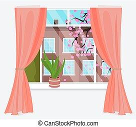 drzewo, kwiat, miasto, wiśnia, sakura, prospekt, okno