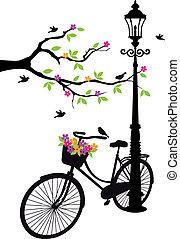 drzewo, kwiaty, lampa, rower