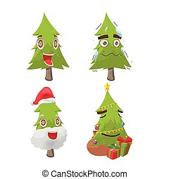 drzewo, litera, boże narodzenie, wektor, zabawa, rysunek
