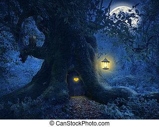 drzewo, magia, las, dom