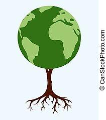 drzewo, mający kształt, świat, podobny, mapa
