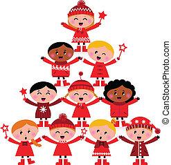 drzewo, odizolowany, boże narodzenie, multicultural, dzieciaki, biały
