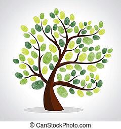 drzewo, palec, tło, komplet, odciski