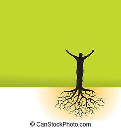 drzewo, podstawy, człowiek