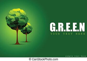 drzewo, pojęcie, zielony
