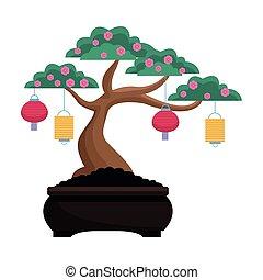 drzewo, projektować, latarnie, chińczyk, odizolowany, wektor, kwiaty