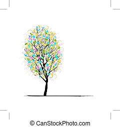 drzewo, projektować, młody, twój