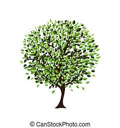 drzewo, projektować, odizolowany, twój