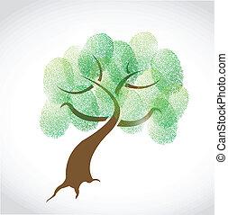 drzewo, projektować, rodzina, ilustracja, odcisk palca
