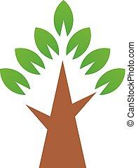 drzewo., prosty, symbol, wektor, zielony, logo