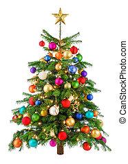 drzewo, radosny, barwny, boże narodzenie