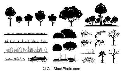 drzewo, rośliny, design., graficzny, trawa, wektor