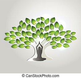 drzewo, rozmyślanie, yoga