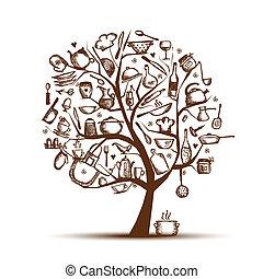 drzewo, rysunek, twój, sztuka, przybory, rys, projektować, kuchnia