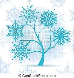 drzewo, snowflakes., zima, boże narodzenie