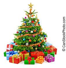 drzewo, soczysty, barwny, g, boże narodzenie