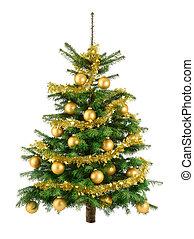 drzewo, soczysty, buble, złoty, boże narodzenie