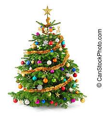 drzewo, soczysty, upiększenia, barwny, boże narodzenie