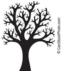 drzewo, sylwetka, 4, mający kształt