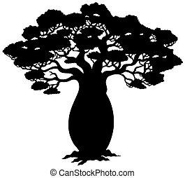 drzewo, sylwetka, afrykanin