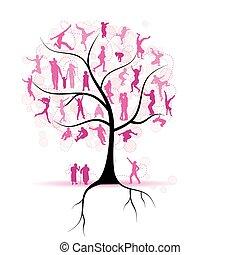 drzewo, sylwetka, krewni, rodzina, ludzie