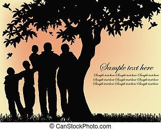 drzewo, sylwetka, ludzie