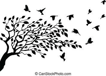drzewo, sylwetka, ptak
