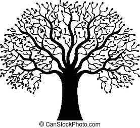 drzewo, sylwetka, rysunek