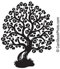 drzewo, sylwetka, wapno
