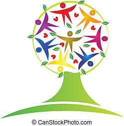 drzewo, teamwork, logo