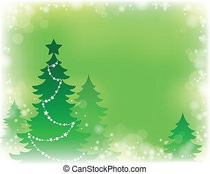 drzewo, temat, sylwetka, boże narodzenie, 3