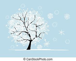 drzewo, twój, holiday., zima, boże narodzenie, design.