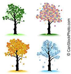 drzewo, twój, pory, sztuka, cztery, design.