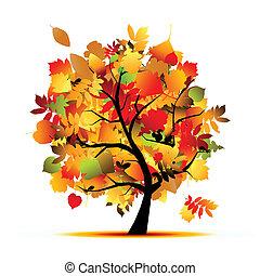 Piękny, jesień, projektować, drzewo, twój.   CanStock