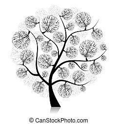 drzewo, twój, sztuka, projektować, sylwetka, biały