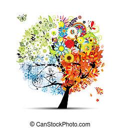 drzewo, twój, wiosna, winter., pory, -, jesień, lato, sztuka, cztery, projektować, piękny