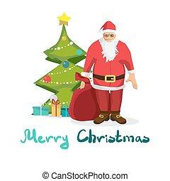 drzewo., tytuł, styl, wesoły, cielna, claus, powitanie, rysunek, święty, torba, wektor, tło, boże narodzenie, card.