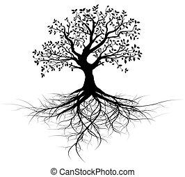drzewo, wektor, całość, podstawy, czarnoskóry