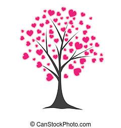 drzewo, wektor, hearts., ilustracja