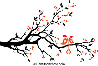 drzewo, wektor, ptaszki, całowanie
