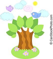 drzewo, wektor, ptaszki, ilustracja