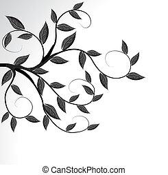 drzewo, wektor, sylwetka, gałąź