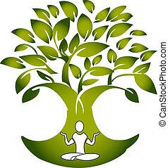 drzewo, wektor, yoga, figura, logo