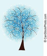 drzewo zima, płatki śniegu